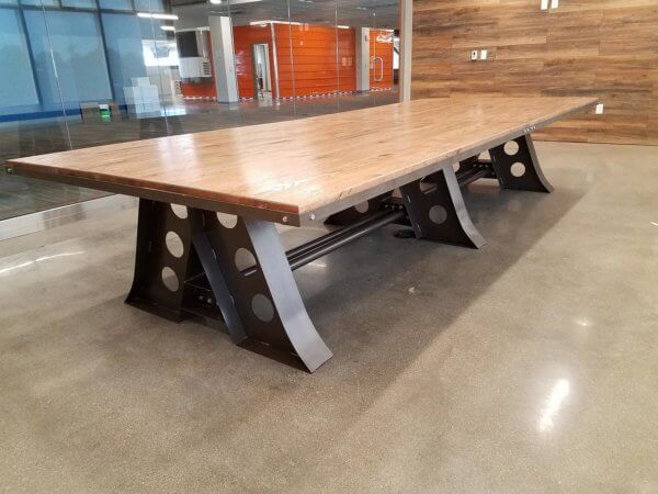 Red Oak Industrial Style Conference Table